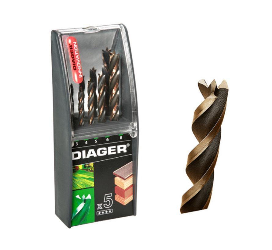 Diager 5-delige Houtboorset Pro 4WOOD in kunststof doos inhoud: Ø3-4-5-6-8