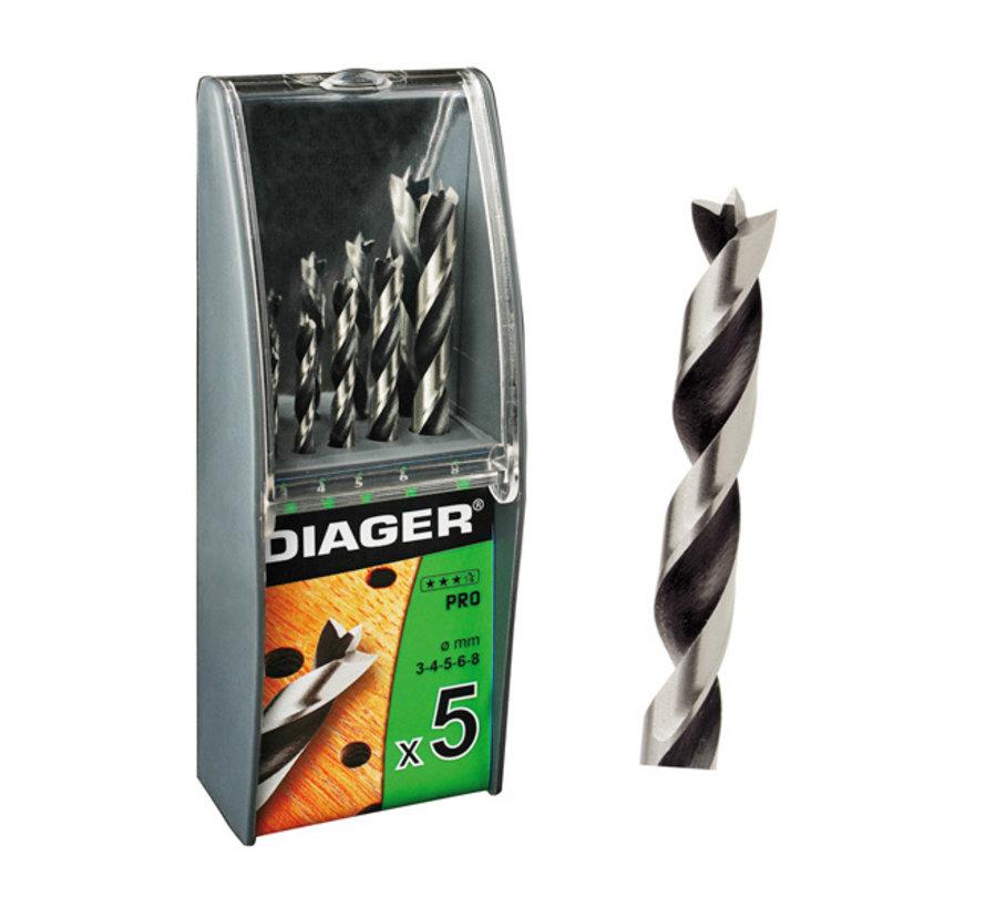 Diager 5-delige Houtboorset Pro in kunststof doos inhoud: Ø3-4-5-6-8