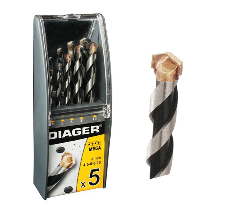Diager 5-delige Steenboorset Mega in kunststof doos inhoud: Ø4-5-6-8-10