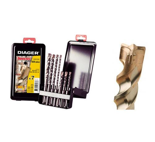 Diager Diager 7-delige Betonborenset Booster-Plus 6x110, 6x160, 8x110, 8x160, 10x110, 10x160, 12x160 met SDS-Plus aansluiting in metalen doos