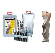 Diager Diager 7-delige Betonborenset Twister-Plus 5x110, 6x110, 6x160, 8x110, 8x160, 10x160, 12x160 met SDS-Plus aansluiting in metalen doos