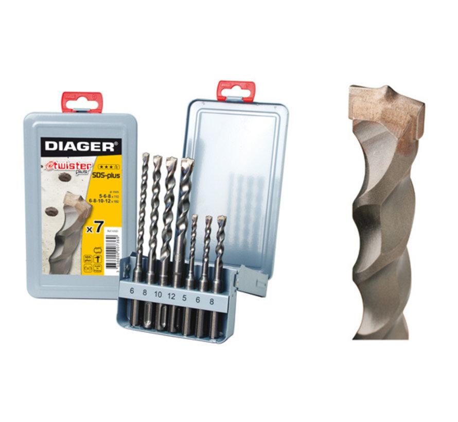 Diager 7-delige Betonborenset Twister-Plus 5x110, 6x110, 6x160, 8x110, 8x160, 10x160, 12x160 met SDS-Plus aansluiting in metalen doos