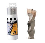 Diager Diager 7-delige Betonborenset Twister-Plus 5x110, 6x110, 6x160, 8x110, 8x160, 10x160, 12x160 met SDS-Plus aansluitingin in ronde kunststof doos
