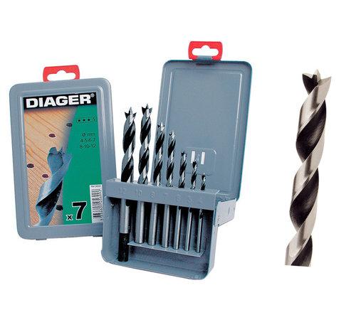 Diager Diager 7-delige Houtboorset Pro in metalen doos inhoud: Ø4-5-6-7-8-10-12