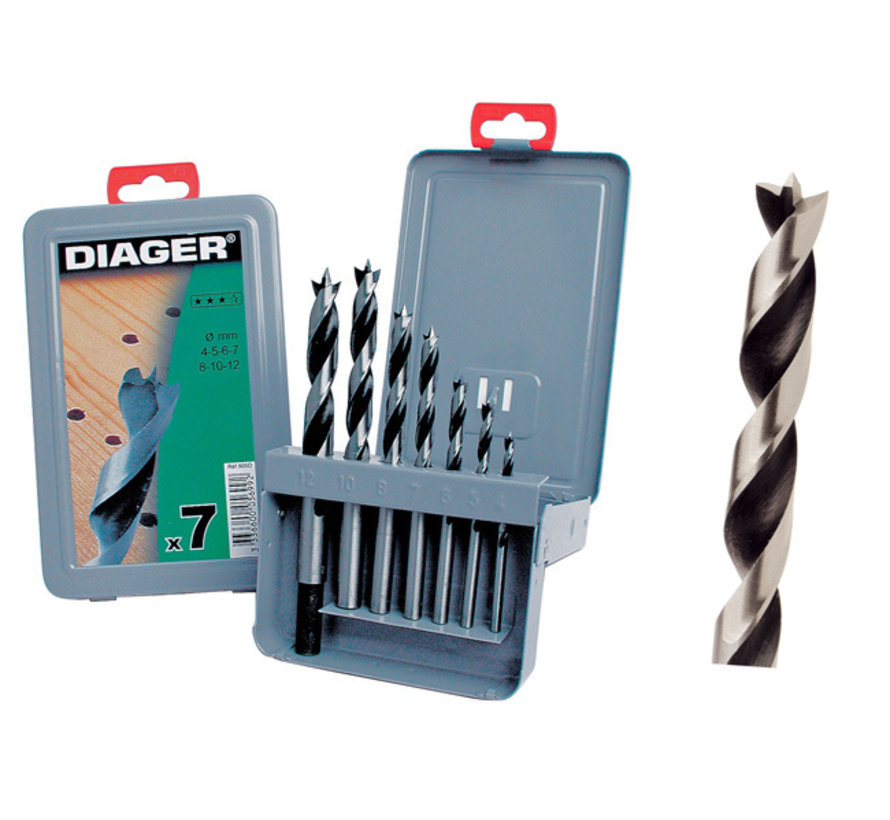 Diager 7-delige Houtboorset Pro in metalen doos inhoud: Ø4-5-6-7-8-10-12