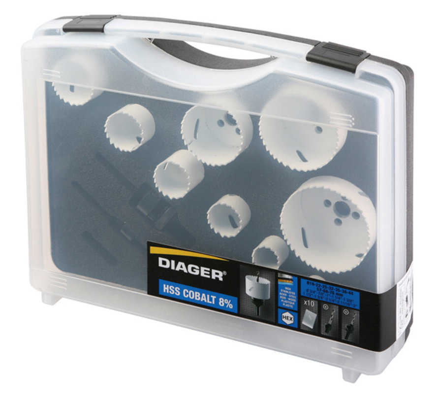 Diager Gatenzaagset BI-Metaal in kunststof koffer inhoud: Ø19-22-25-32-35-38-44-57-68-76mm inclusief 2 adapters met centreerboren