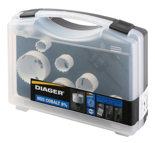 Diager Diager Gatenzaagset BI-Metaal in kunststof koffer inhoud: Ø19-25-32-38-44-57-68mm inclusief 2 adapters met centreerboren