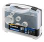 Diager Gatenzaagset BI-Metaal in kunststof koffer inhoud: Ø19-25-32-38-44-57-68mm inclusief 2 adapters met centreerboren