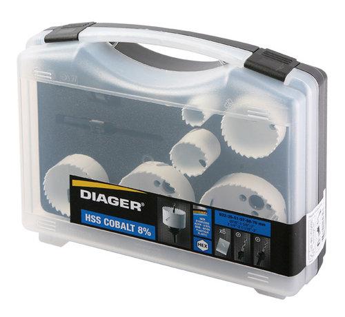 Diager Diager Gatenzaagset BI-Metaal in kunststof koffer inhoud: Ø22-35-51-57-68-76mm inclusief 2 adapters met centreerboren