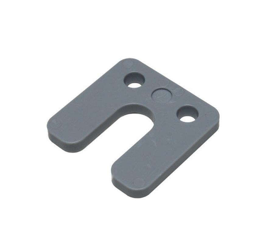 GB kunststof drukplaat 7 mm met sleuf grijs 48 stuks