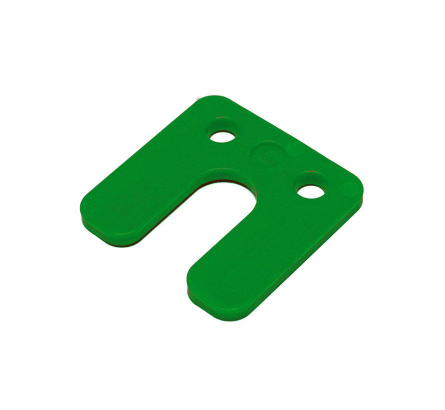 GB kunststof drukplaat 10 mm met sleuf groen 48 stuks