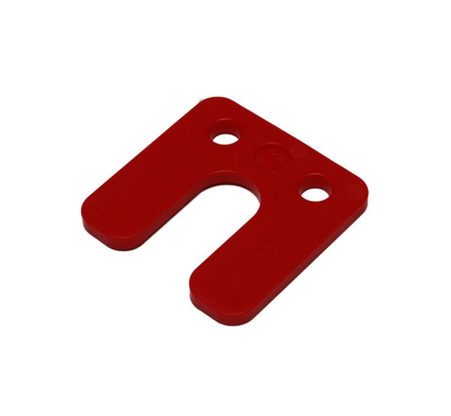 GB kunststof drukplaat 5 mm met sleuf rood 48 stuks