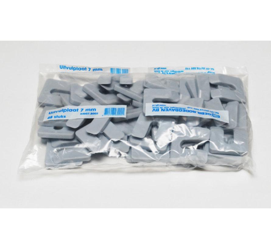 GB uitvulplaatjes 7 mm grijs zak 48 stuks