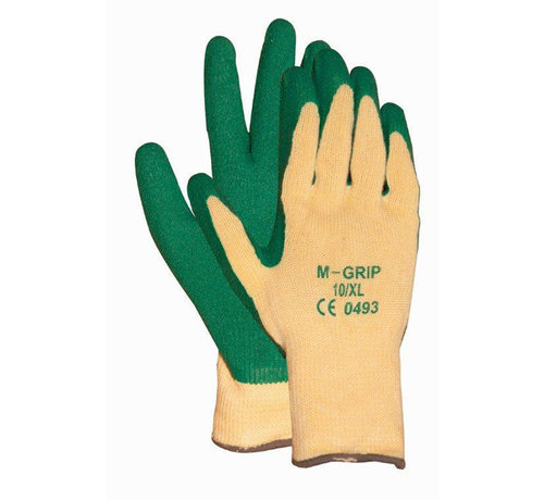 Handschoen M-Grip 11-540 met groene latex coating en naadloze gebreide polyester/katoen voering categorie 2 maat 11 / XXL