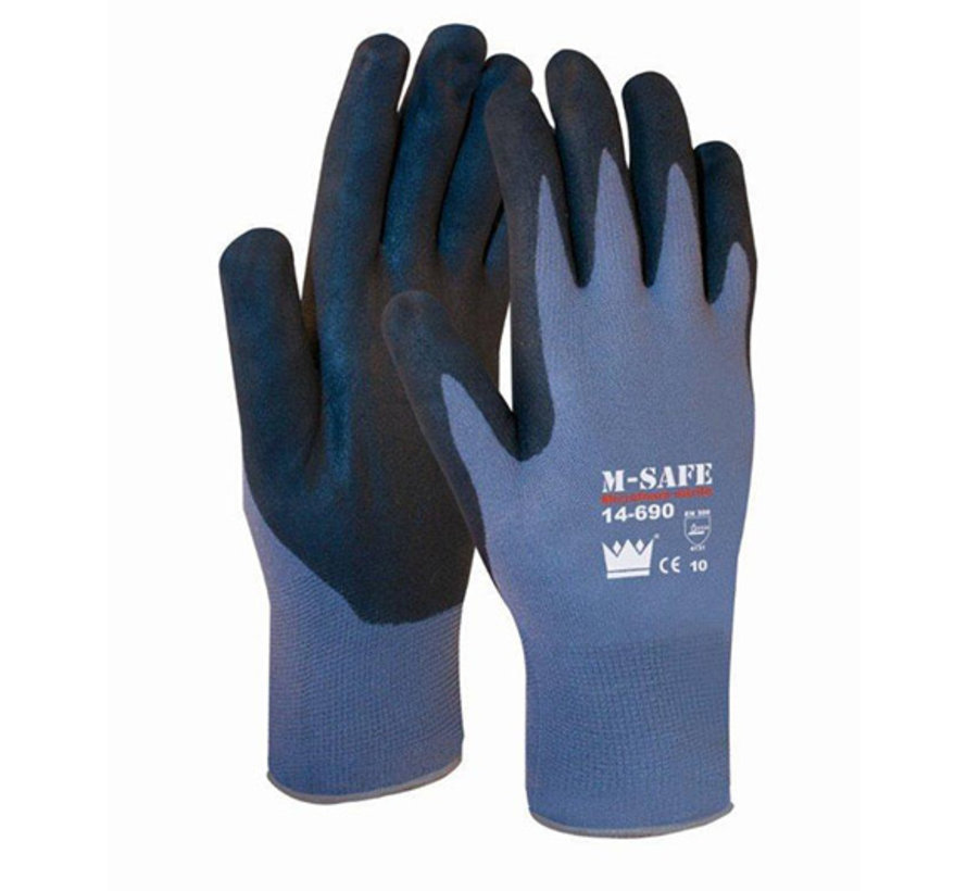 Handschoen M-Safe Nitrile Microfoam 14-690 zwarte super lichte nitril foam coating maat 9 / L
