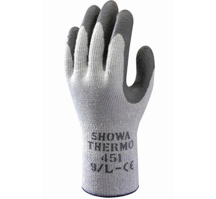 Handschoen Showa 451 Thermo grijs met donker grijs geruwde latex coating palm maat 9 / L