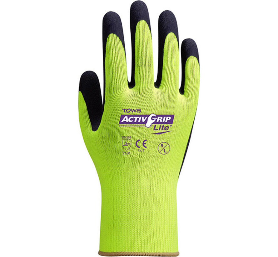 Handschoen TOWA ActivGrip Lite met foam latex coating maat 9 / L
