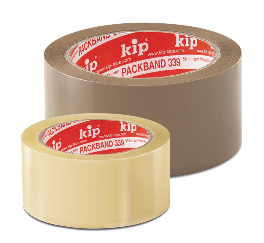 Kip 339-10 PVC-Verpakkingstape standaard kwaliteit transparant 50mm x 66m