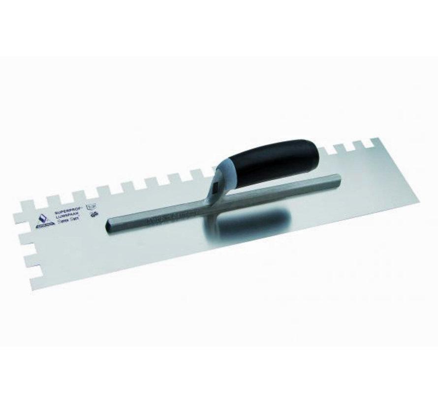 Lijmspaan - Super Prof - 480x120 mm RVS, 12x12 mm met Supersoft-handgreep