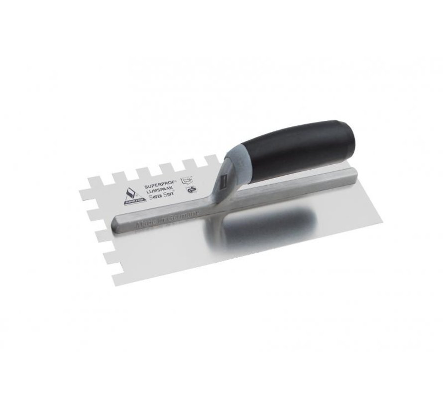 Lijmspaan - Super Prof - 280x120 mm RVS 12x12 mm met Supersoft-handgreep