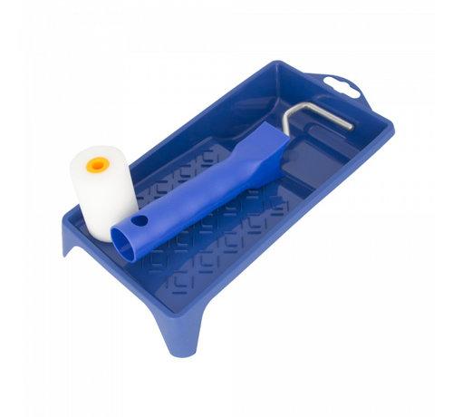 Mini lakrolset: verfbakje minibeugel schuimrol extra fijn 2 zijden recht 5cm