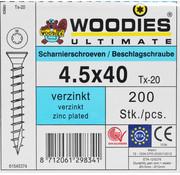 Woodies Ultimate Woodies scharnierschroeven 4.5x40 verzinkt T-20 200 stuks