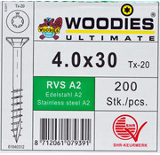 Woodies Ultimate Woodies schroeven 4.0x30 RVS A2 T-20 deeldraad 200 stuks