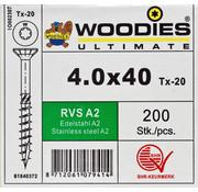 Woodies Ultimate Woodies schroeven 4.0x40 RVS A2 T-20 deeldraad 200 stuks