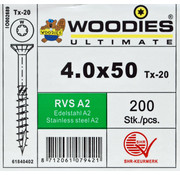 Woodies Ultimate Woodies schroeven 4.0x50 RVS A2 T-20 deeldraad 200 stuks