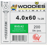 Woodies Ultimate Woodies schroeven 4.0x60 RVS A2 T-20 deeldraad 200 stuks