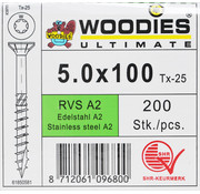 Woodies Ultimate Woodies schroeven 5.0x100 RVS A2 T-25 deeldraad 200 stuks