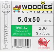Woodies Ultimate Woodies schroeven 5.0x50 RVS A2 T-25 deeldraad 200 stuks