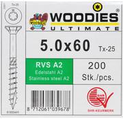Woodies Ultimate Woodies schroeven 5.0x60 RVS A2 T-25 deeldraad 200 stuks