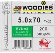 Woodies Ultimate Woodies schroeven 5.0x70 RVS A2 T-25 deeldraad 200 stuks