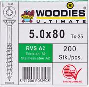 Woodies Ultimate Woodies schroeven 5.0x80 RVS A2 T-25 deeldraad 200 stuks