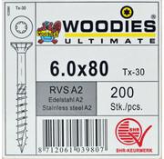Woodies Ultimate Woodies schroeven 6.0x80 RVS A2 T-30 deeldraad 200 stuks