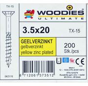 Woodies Ultimate Woodies schroeven 3.5x20 geelverzinkt T-15 deeldraad 200 stuks