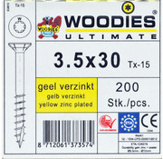 Woodies Ultimate Woodies schroeven 3.5x30 geelverzinkt T-15 deeldraad 200 stuks