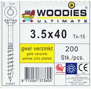 Woodies Ultimate Woodies schroeven 3.5x40 geelverzinkt T-15 deeldraad 200 stuks