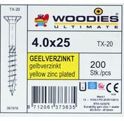 Woodies Ultimate Woodies schroeven 4.0x25 geelverzinkt T-20 deeldraad 200 stuks