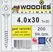 Woodies Ultimate Woodies schroeven 4.0x30 geelverzinkt T-20 deeldraad 200 stuks