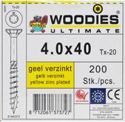 Woodies Ultimate Woodies schroeven 4.0x40 geelverzinkt T-20 deeldraad 200 stuks