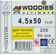 Woodies Ultimate Woodies schroeven 4.5x50 geelverzinkt T-25 deeldraad  200 stuks