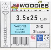 Woodies Ultimate Woodies schroeven 3.5x25 verzinkt T-15 deeldraad 200 stuks
