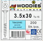 Woodies Ultimate Woodies schroeven 3.5x30 verzinkt T-15 deeldraad 200 stuks