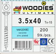 Woodies Ultimate Woodies schroeven 3.5x40 verzinkt T-15 deeldraad 200 stuks
