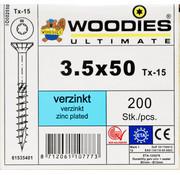 Woodies Ultimate Woodies schroeven 3.5x50 verzinkt T-15 deeldraad 200 stuks