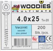 Woodies Ultimate Woodies schroeven 4.0x25 verzinkt T-20 deeldraad 200 stuks