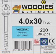 Woodies Ultimate Woodies schroeven 4.0x30 verzinkt T-20 deeldraad 200 stuks