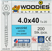 Woodies Ultimate Woodies schroeven 4.0x40 verzinkt T-20 deeldraad 200 stuks
